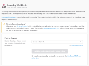 Slack Incoming webhooks create webhook - select channel