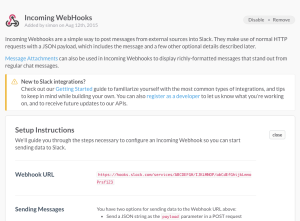 Slack Incoming webhooks create webhook - copy url